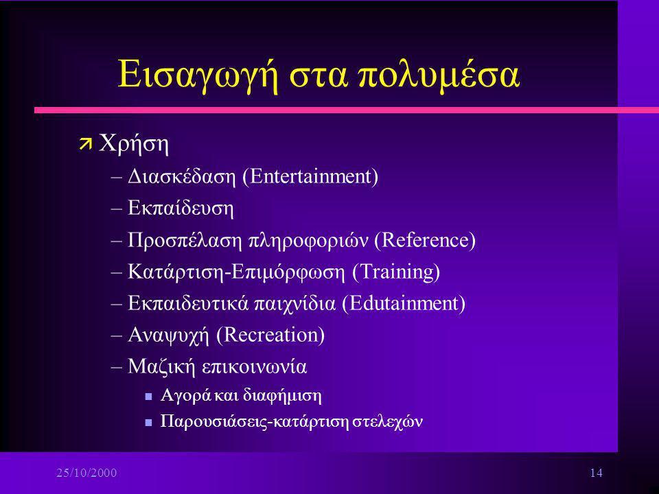 Εισαγωγή στα πολυμέσα Χρήση Διασκέδαση (Entertainment) Εκπαίδευση