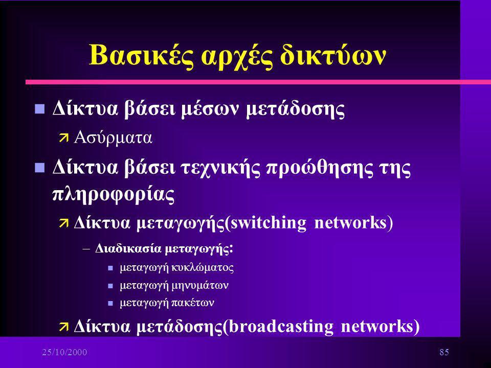 Βασικές αρχές δικτύων Δίκτυα βάσει μέσων μετάδοσης