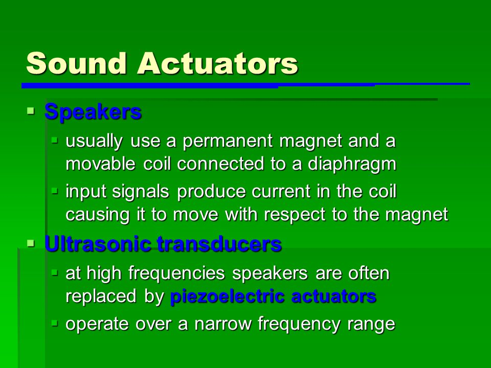 Sound Actuators Speakers Ultrasonic transducers
