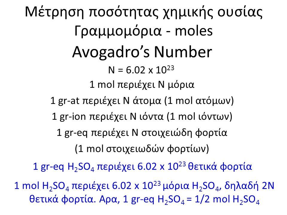 Avogadro's Number Μέτρηση ποσότητας χημικής ουσίας Γραμμομόρια - moles