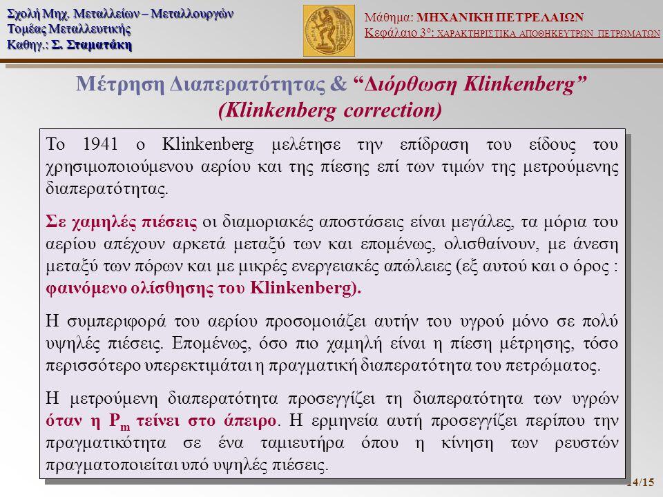 Μέτρηση Διαπερατότητας & Διόρθωση Klinkenberg (Klinkenberg correction)