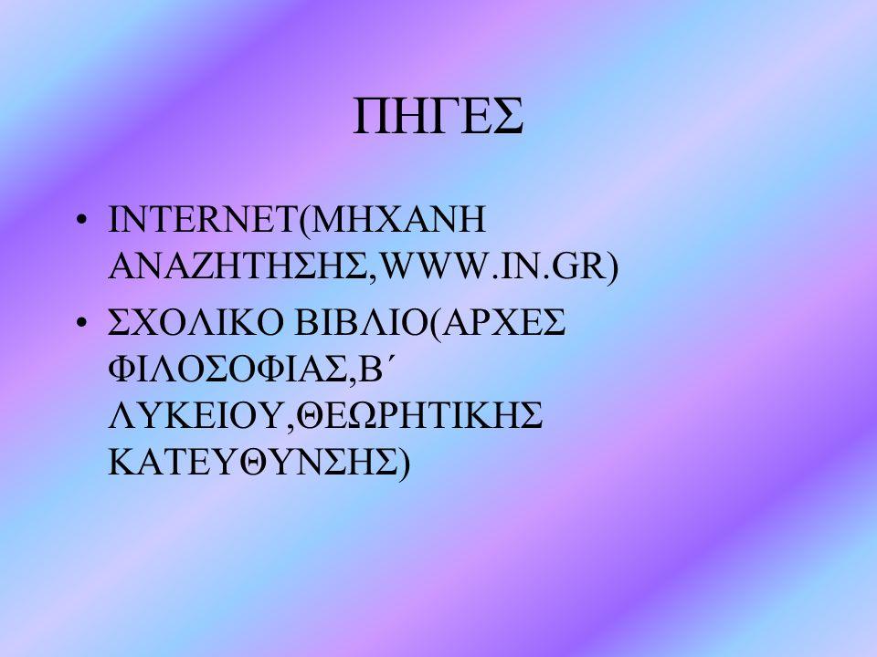 ΠΗΓΕΣ INTERNET(MHXANH ANAZHTHΣΗΣ,WWW.IN.GR)