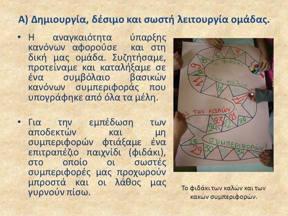 Α) Δημιουργία, δέσιμο και σωστή λειτουργία ομάδας.