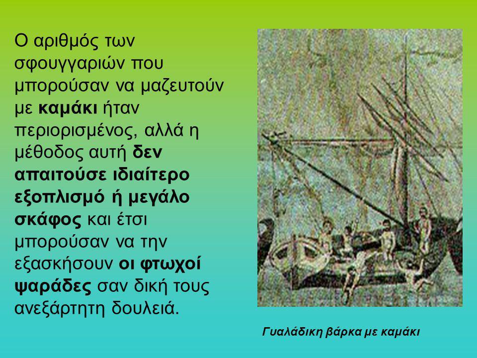 Ο αριθμός των σφουγγαριών που μπορούσαν να μαζευτούν με καμάκι ήταν περιορισμένος, αλλά η μέθοδος αυτή δεν απαιτούσε ιδιαίτερο εξοπλισμό ή μεγάλο σκάφος και έτσι μπορούσαν να την εξασκήσουν οι φτωχοί ψαράδες σαν δική τους ανεξάρτητη δουλειά.