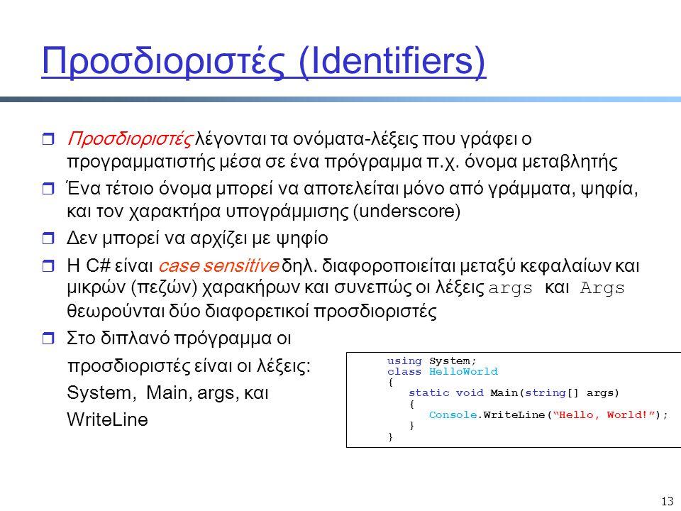 Προσδιοριστές (Identifiers)