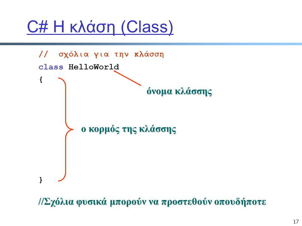C# Η κλάση (Class) όνομα κλάσσης ο κορμός της κλάσσης
