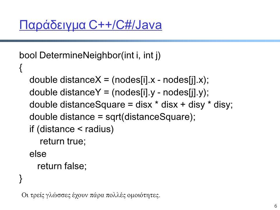Παράδειγμα C++/C#/Java