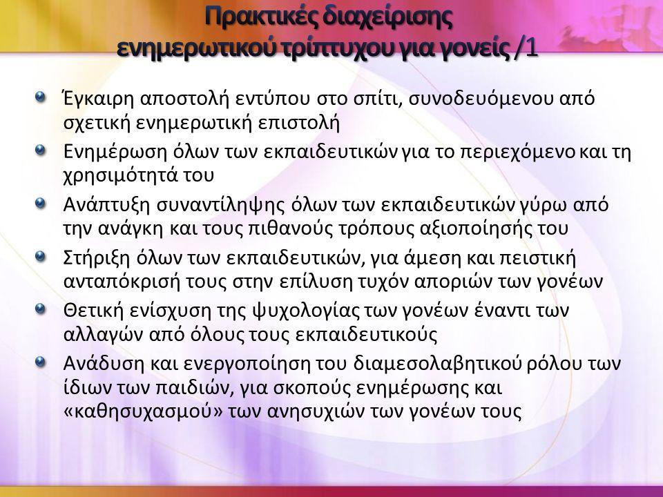 Πρακτικές διαχείρισης ενημερωτικού τρίπτυχου για γονείς /1
