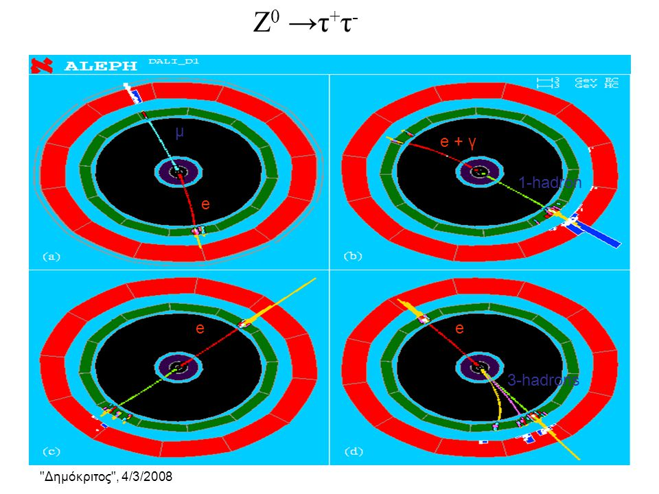Ζ0 →τ+τ- μ e + γ 1-hadron e e e 3-hadrons
