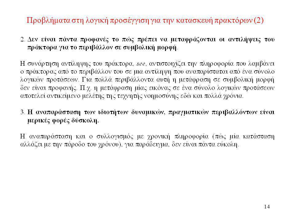 Προβλήματα στη λογική προσέγγιση για την κατασκευή πρακτόρων (2)