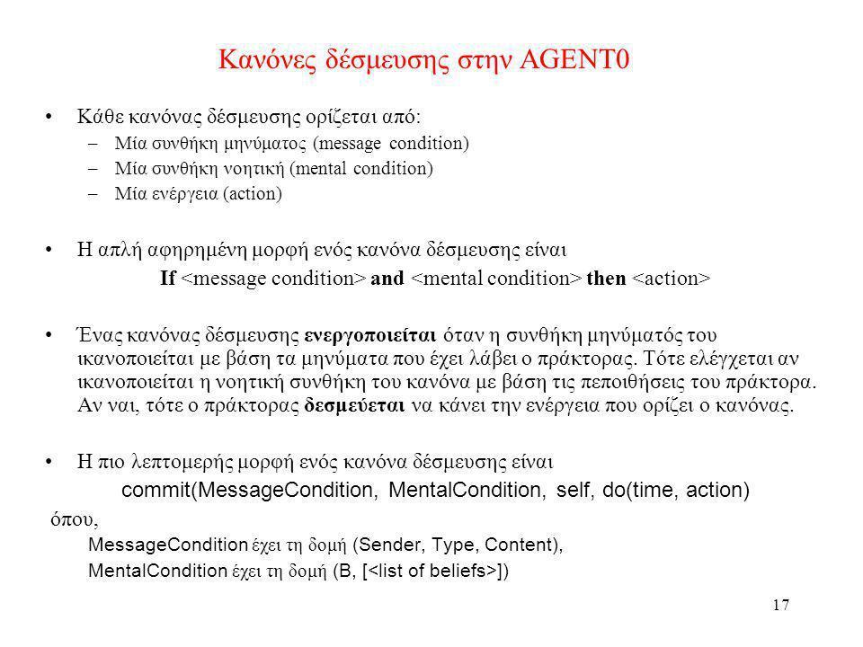 Κανόνες δέσμευσης στην AGENT0