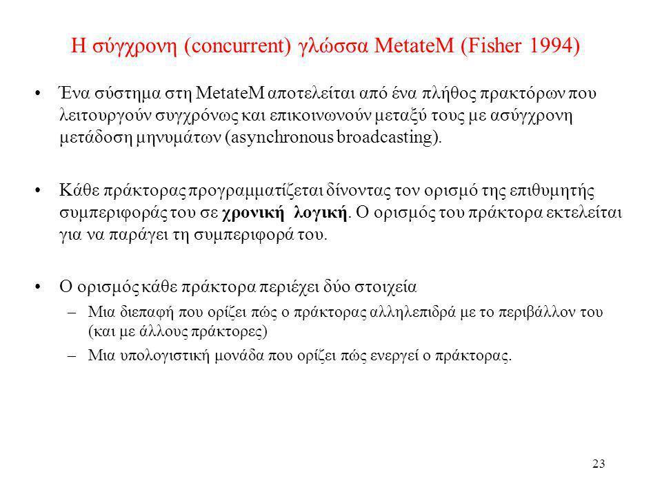 Η σύγχρονη (concurrent) γλώσσα MetateM (Fisher 1994)