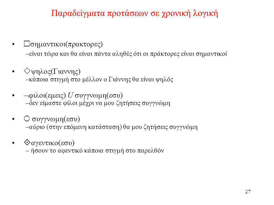 Παραδείγματα προτάσεων σε χρονική λογική
