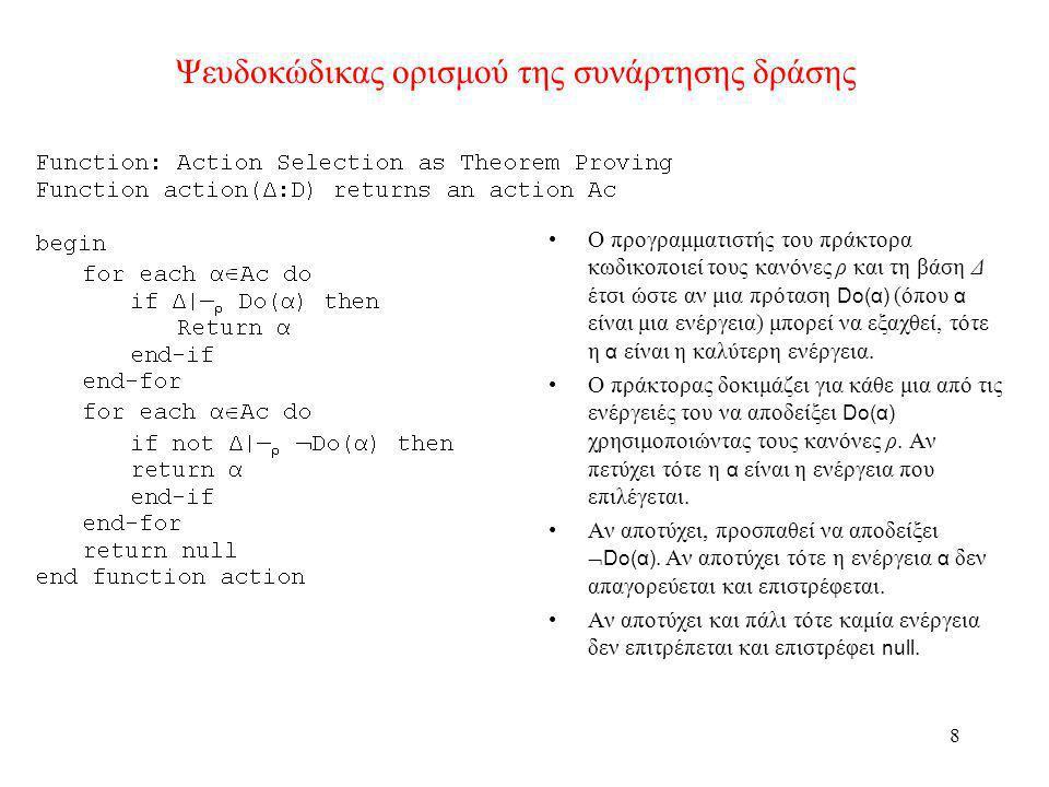 Ψευδοκώδικας ορισμού της συνάρτησης δράσης