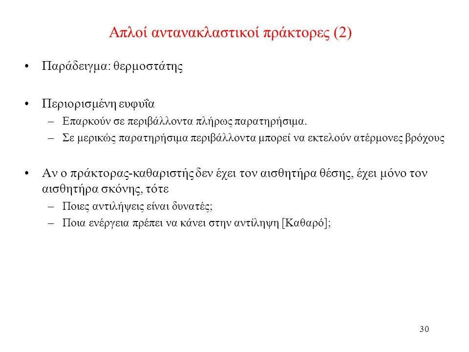 Απλοί αντανακλαστικοί πράκτορες (2)