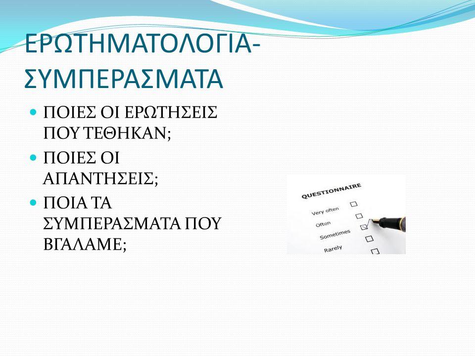 ΕΡΩΤΗΜΑΤΟΛΟΓΙΑ-ΣΥΜΠΕΡΑΣΜΑΤΑ