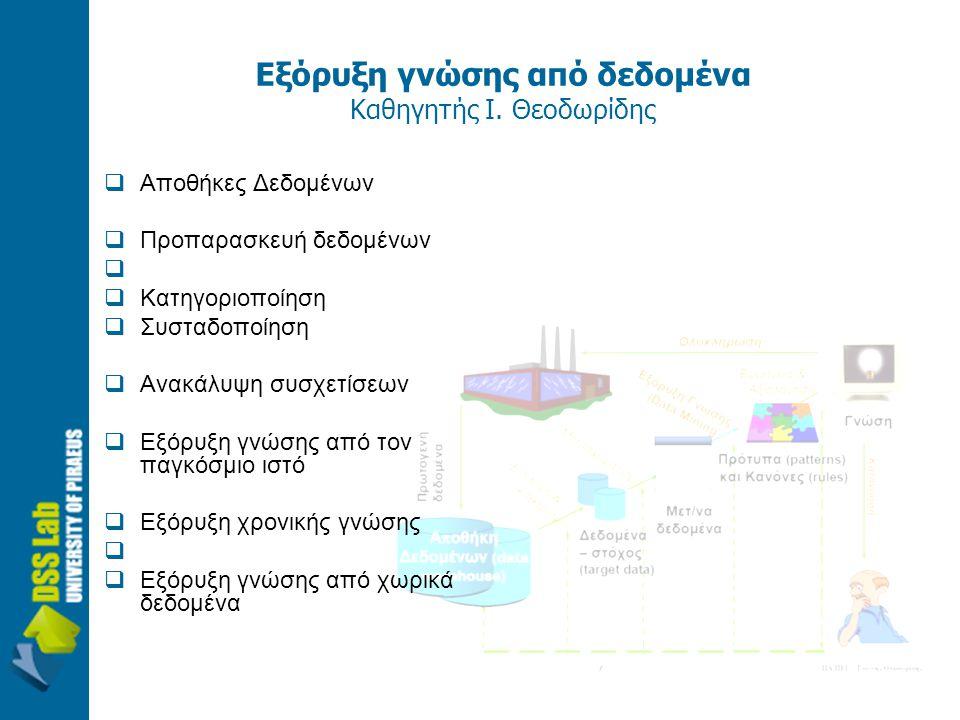 Εξόρυξη γνώσης από δεδομένα Καθηγητής Ι. Θεοδωρίδης