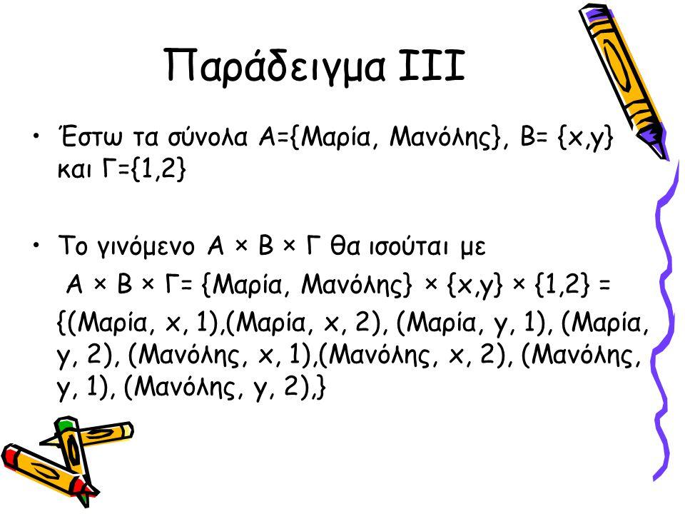 Παράδειγμα III Έστω τα σύνολα Α={Μαρία, Μανόλης}, Β= {x,y} και Γ={1,2}