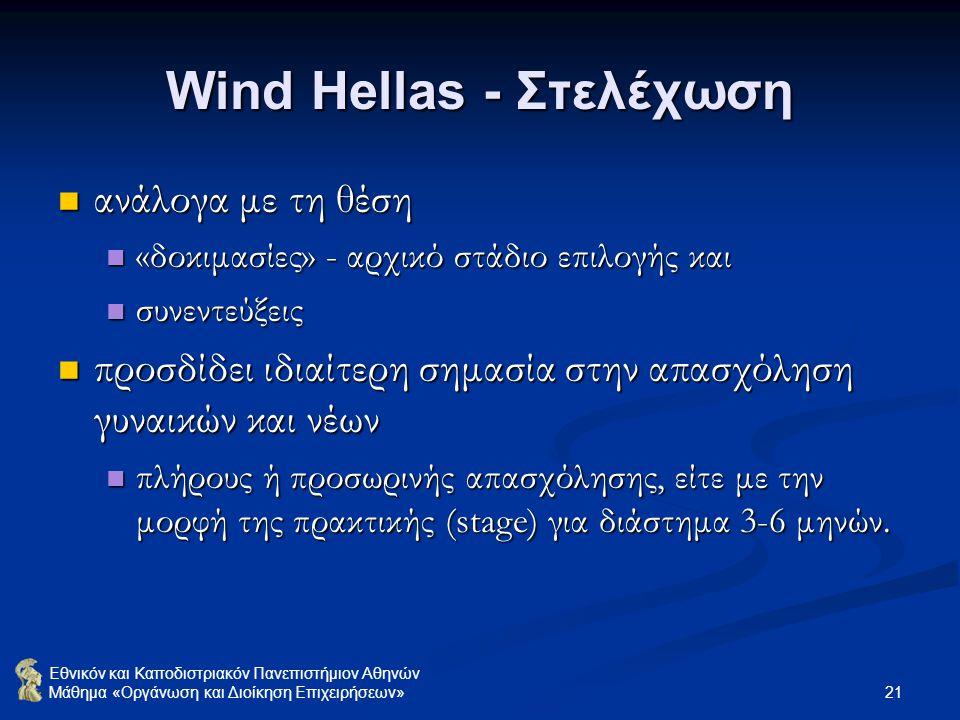 Wind Hellas - Στελέχωση