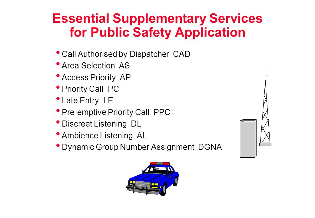 Essential Supplementary Services for Public Safety Application