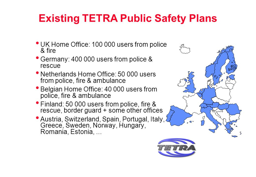 Existing TETRA Public Safety Plans