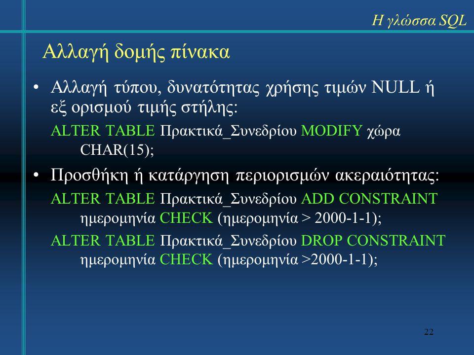 Η γλώσσα SQL Αλλαγή δομής πίνακα. Αλλαγή τύπου, δυνατότητας χρήσης τιμών NULL ή εξ ορισμού τιμής στήλης: