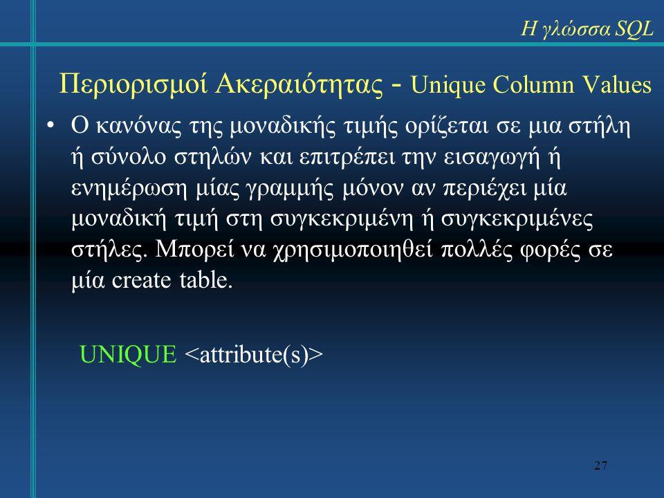 Περιορισμοί Ακεραιότητας - Unique Column Values