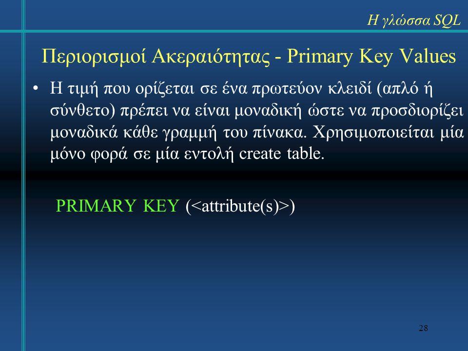 Περιορισμοί Ακεραιότητας - Primary Key Values