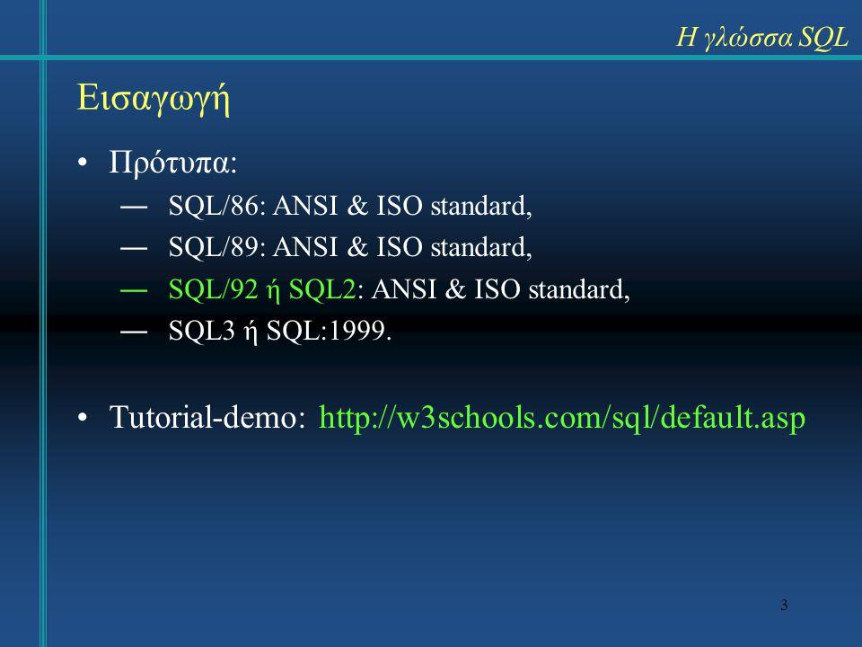 Εισαγωγή Πρότυπα: Tutorial-demo: http://w3schools.com/sql/default.asp