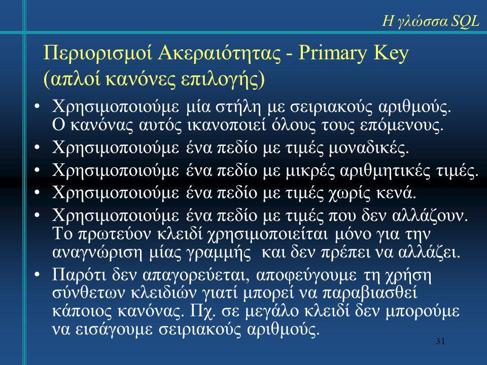 Περιορισμοί Ακεραιότητας - Primary Key (απλοί κανόνες επιλογής)