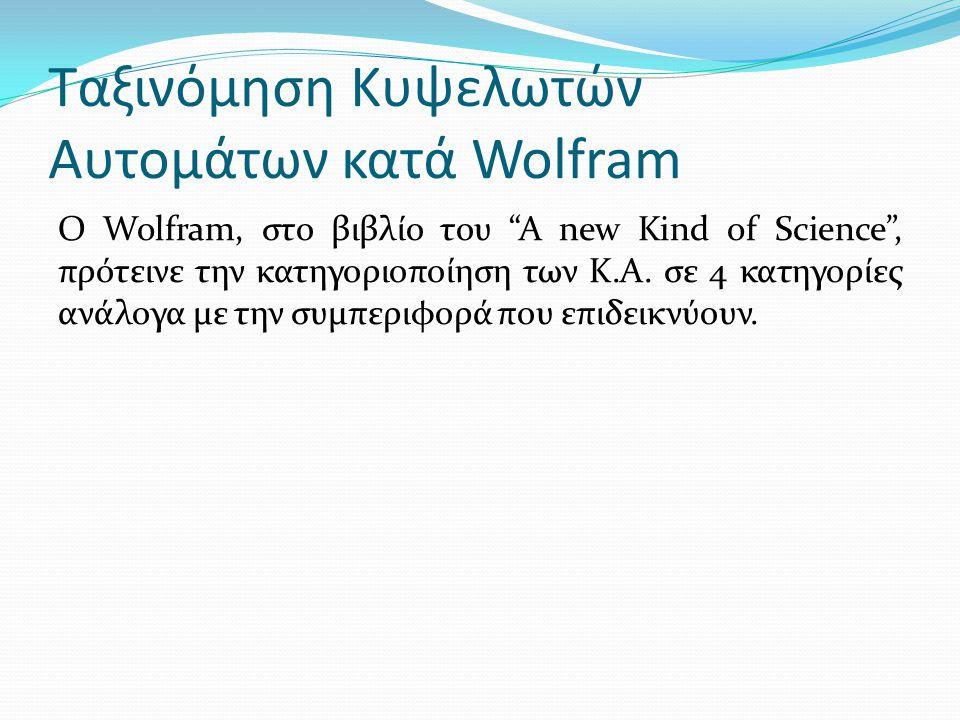 Ταξινόμηση Κυψελωτών Αυτομάτων κατά Wolfram