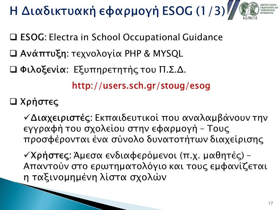 Η Διαδικτυακή εφαρμογή ESOG (1/3)