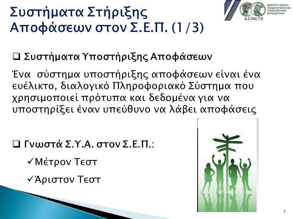 Συστήματα Στήριξης Αποφάσεων στον Σ.Ε.Π. (1/3)