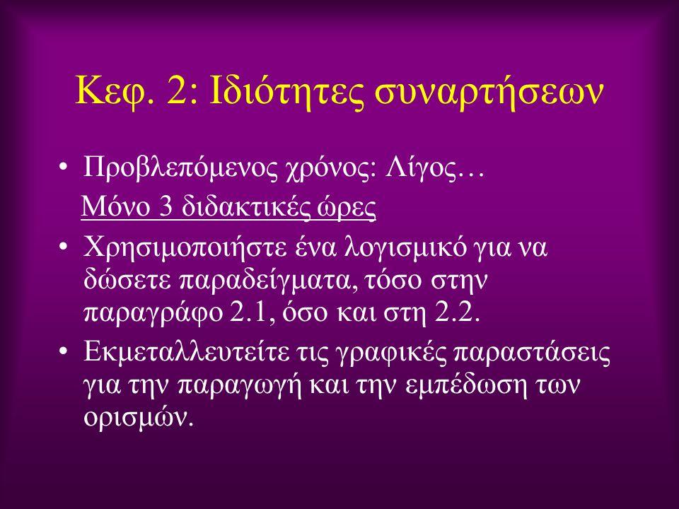 Κεφ. 2: Ιδιότητες συναρτήσεων