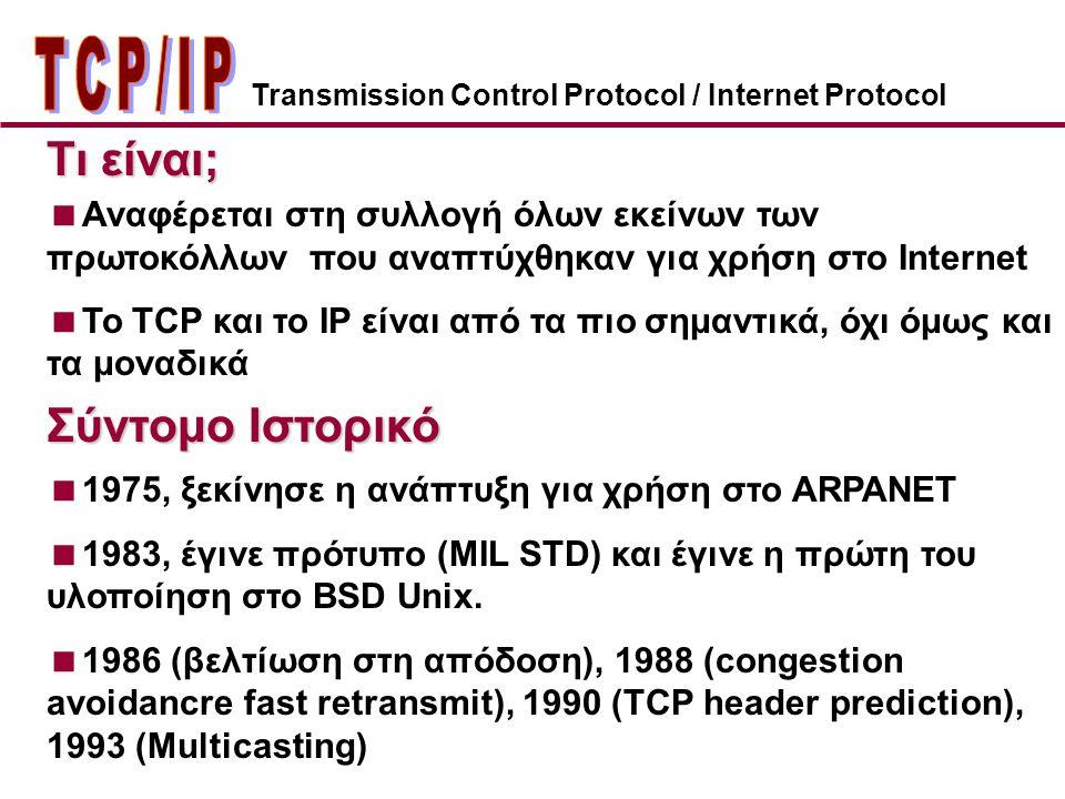 ΤCP/IP Τι είναι; Σύντομο Ιστορικό