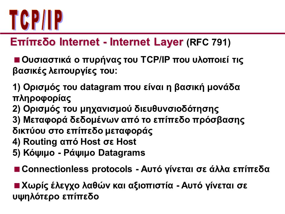 ΤCP/IP Επίπεδo Internet - Internet Layer (RFC 791)