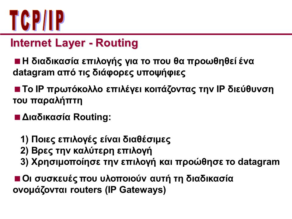 ΤCP/IP Internet Layer - Routing