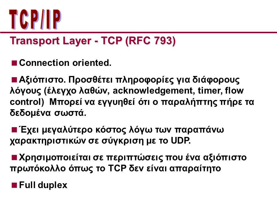 ΤCP/IP Transport Layer - TCP (RFC 793) Connection oriented.