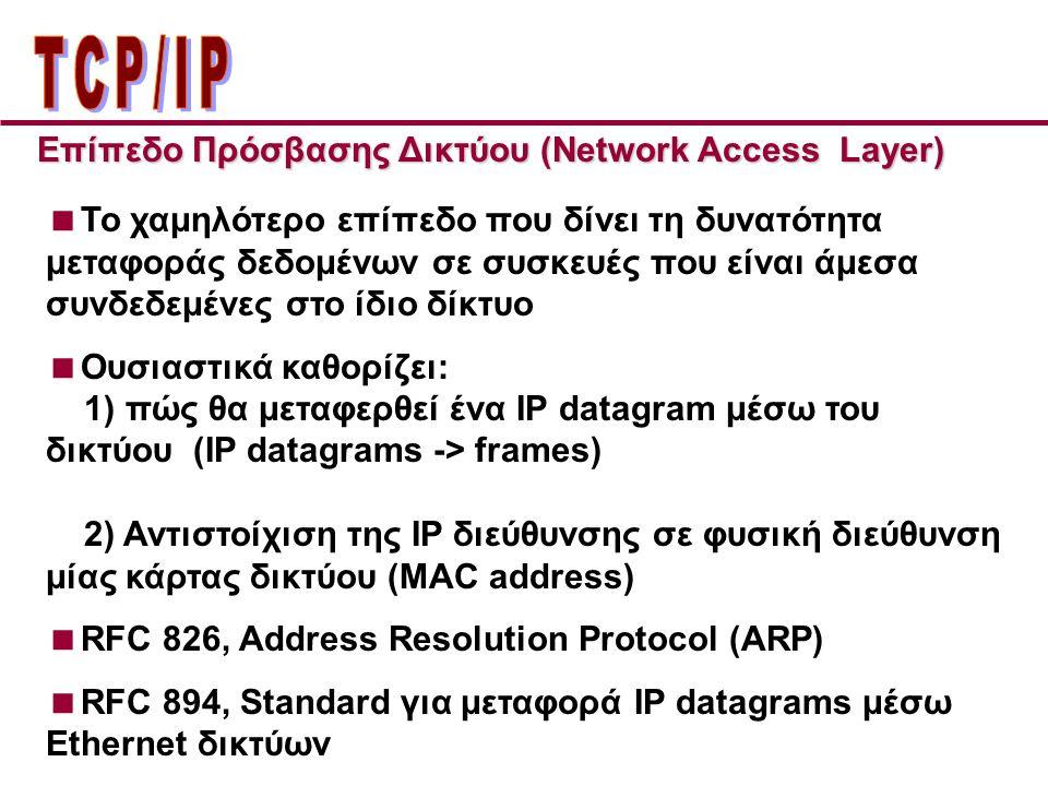 ΤCP/IP Επίπεδo Πρόσβασης Δικτύου (Network Access Layer)