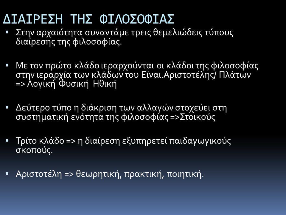ΔΙΑΙΡΕΣΗ ΤΗΣ ΦΙΛΟΣΟΦΙΑΣ