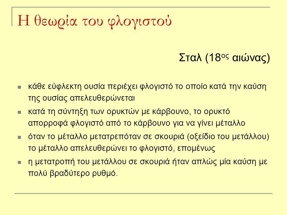 Η θεωρία του φλογιστού Σταλ (18ος αιώνας)