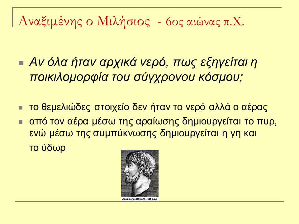 Αναξιμένης ο Μιλήσιος - 6ος αιώνας π.Χ.
