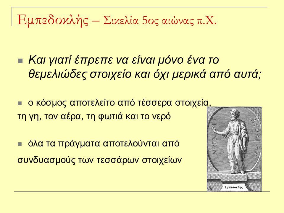Εμπεδοκλής – Σικελία 5ος αιώνας π.Χ.
