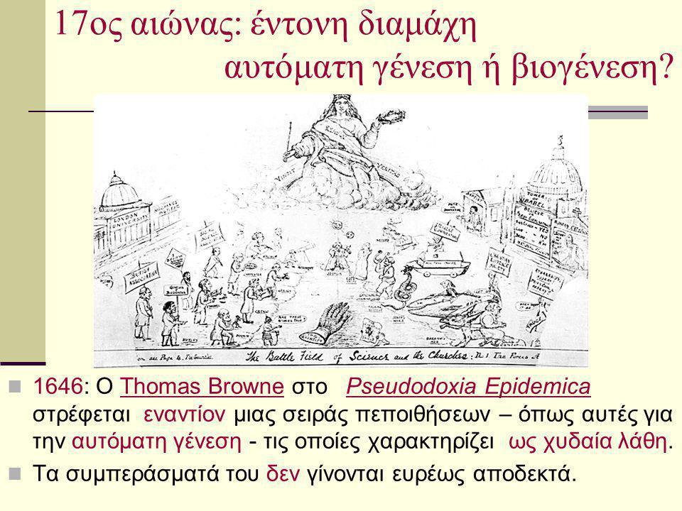 17ος αιώνας: έντονη διαμάχη αυτόματη γένεση ή βιογένεση