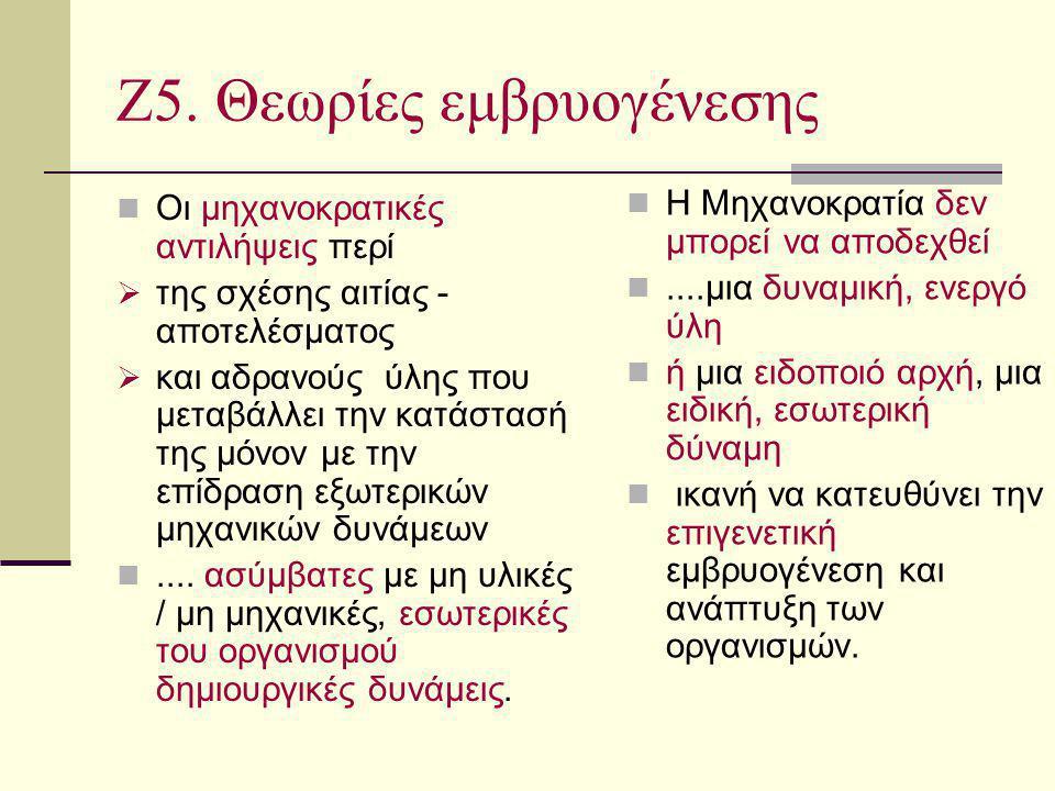Ζ5. Θεωρίες εμβρυογένεσης