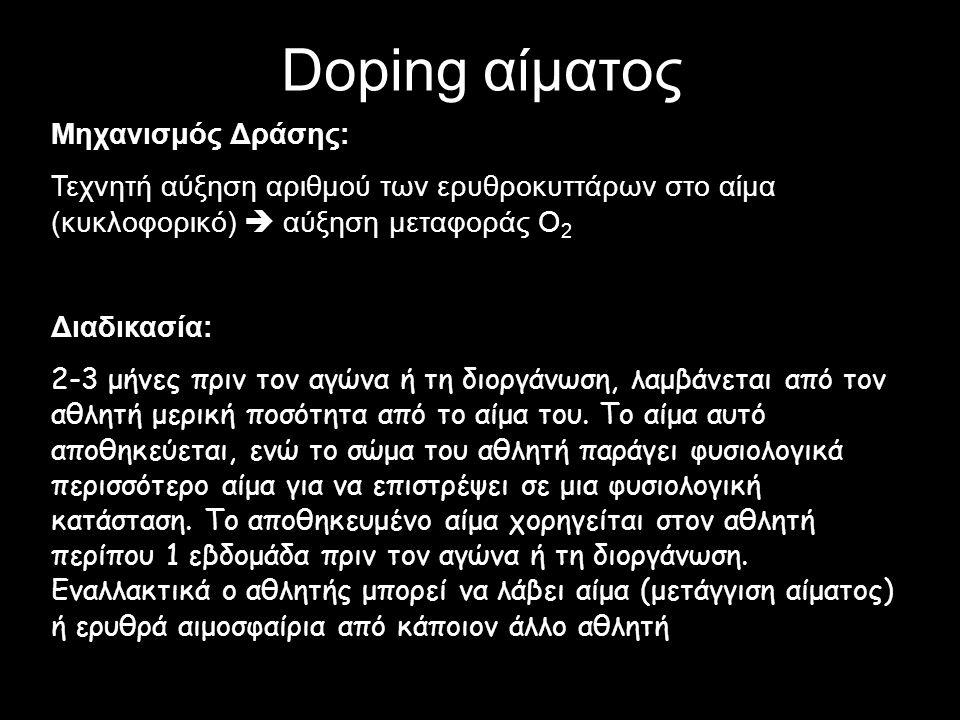 Doping αίματος Μηχανισμός Δράσης: