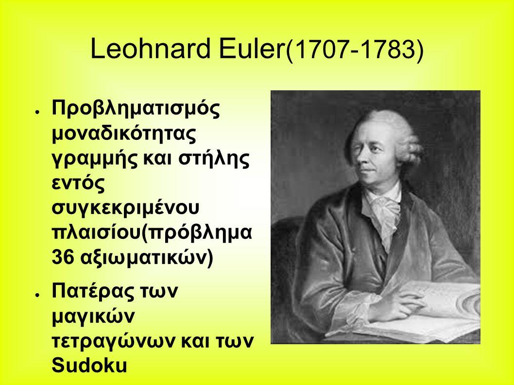 Leohnard Euler(1707-1783) Προβληματισμός μοναδικότητας γραμμής και στήλης εντός συγκεκριμένου πλαισίου(πρόβλημα 36 αξιωματικών)