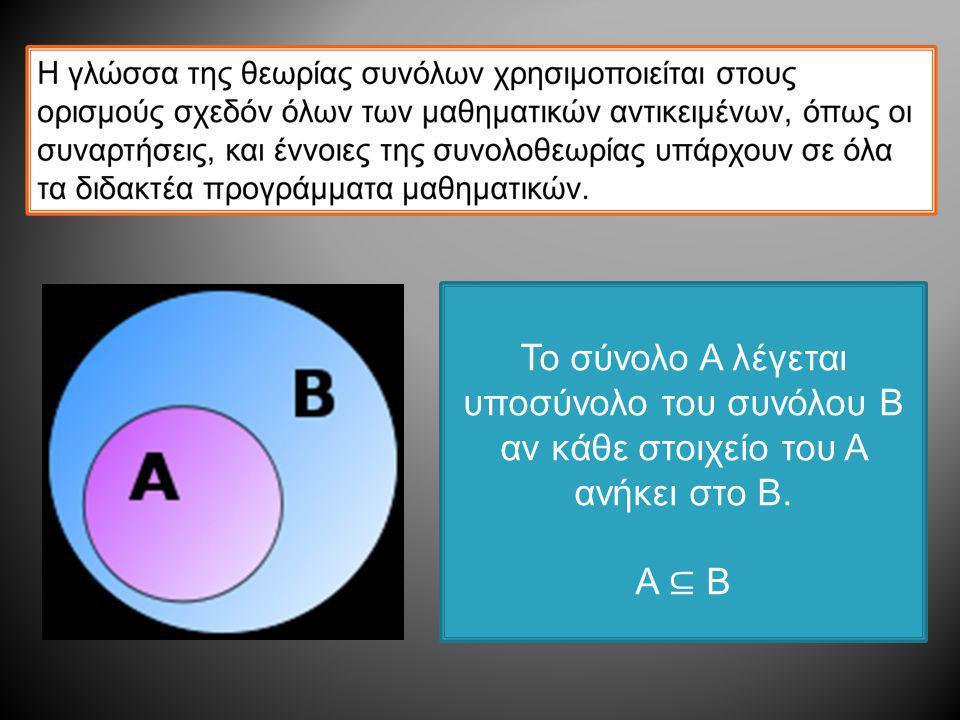 Το σύνολο Α λέγεται υποσύνολο του συνόλου Β αν κάθε στοιχείο του Α ανήκει στο Β.