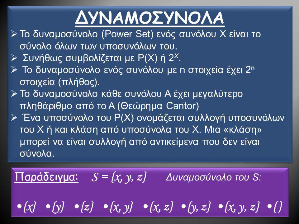 ΔΥΝΑΜΟΣΥΝΟΛΑ •{x} •{y} •{z} •{x, y} •{x, z} •{y, z} •{x, y, z} •{ }