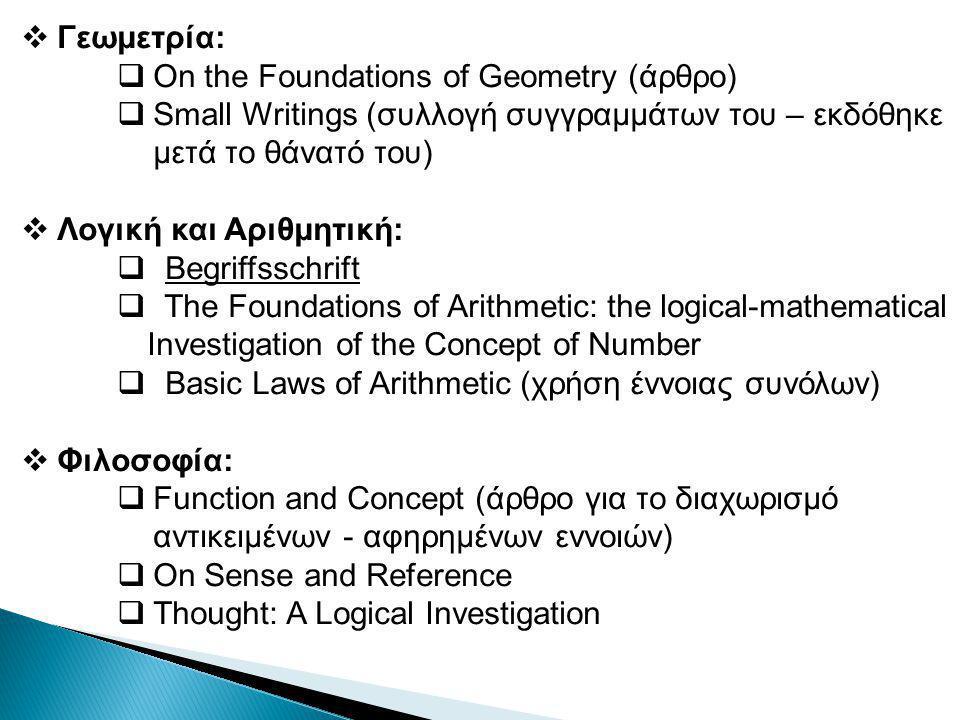 Γεωμετρία: On the Foundations of Geometry (άρθρο) Small Writings (συλλογή συγγραμμάτων του – εκδόθηκε μετά το θάνατό του)